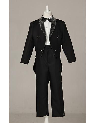 Černá Směs polyesteru a bavlny Oblek pro mládence - 4 Obsahuje Sako Kalhoty Košile Motýlek