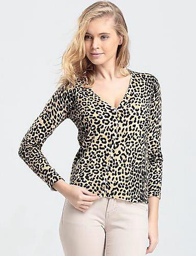 Women's Black/Red/Yellow/Animal Print Cardigan , Print Long Sleeve