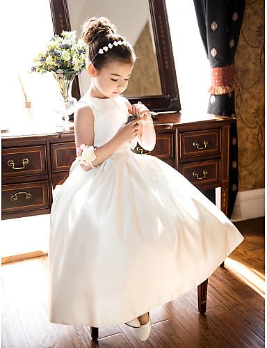 Linea-A   Da principessa Lunghezza tè Abito da damigella d onore bambina -  Raso Senza maniche Con decorazione gioiello con Fiocco (fiocchi)   Con  ruche di ... 10629706a33