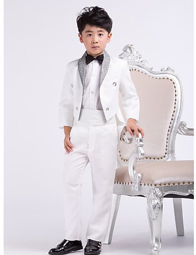 Satin Ring Bearer Suit - 4 Pieces Includes  Jacket / Shirt / Pants / Bow Tie