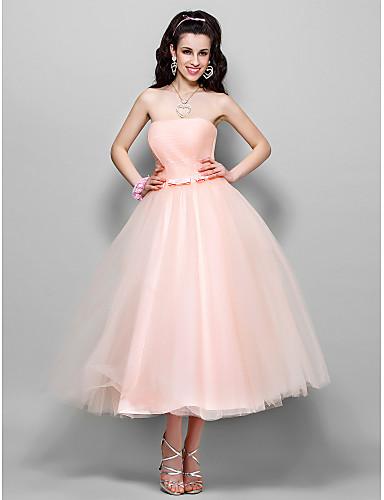 Linia -A / Prințesă Fără Bretele / Straight Neckline Lungime Tea Tulle Bal / Seară Formală Rochie cu Arc / Pliuri de TS Couture®