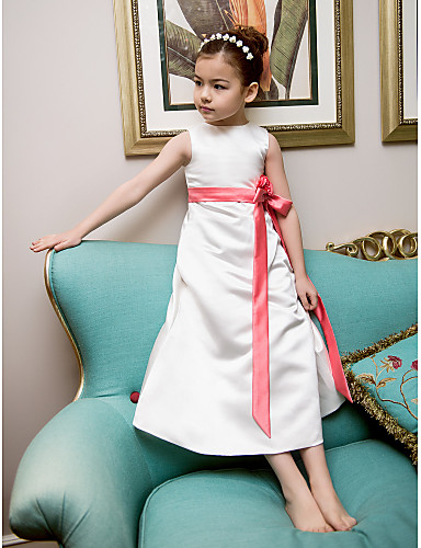 A-Line Princess Tea Length Flower Girl Dress - Satin Sleeveless Jewel Neck with Bow(s) Sash / Ribbon Flower by LAN TING BRIDE®