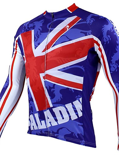cheap Cycling Clothing-ILPALADINO Men's Long Sleeve Cycling Jersey National Flag British Bike Jersey Top Thermal / Warm Breathable Quick Dry Sports 100% Polyester Mountain Bike MTB Road Bike Cycling Clothing Apparel