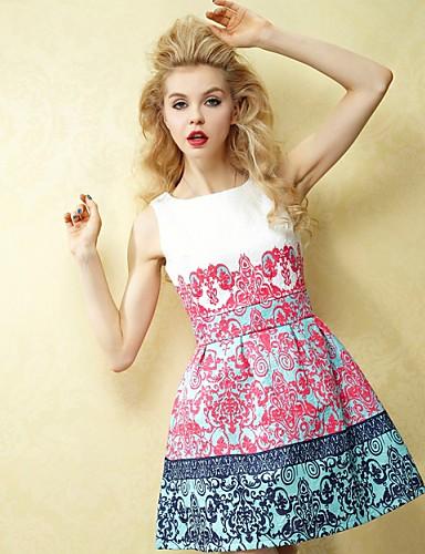 Damen Street Schick Hülle Kleid - Druck, Einfarbig