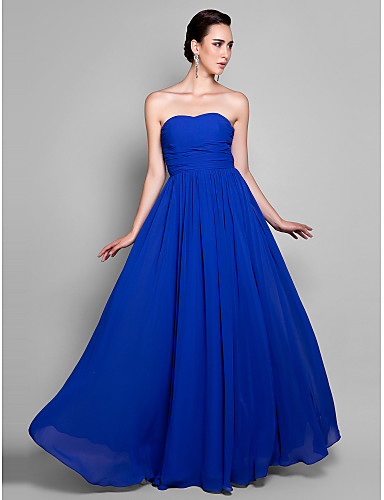 A-Line Sweetheart Ankle Length Chiffon Prom Formal Evening Military Ball Dress with Draping Ruching by TS Couture®