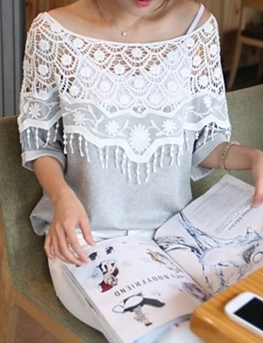 여성 - 섹시/캐쥬얼 원형 짧은 소매 - 티셔츠 ( 면 )