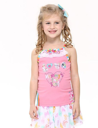 Girl's Tanks Adorable Love Embroidery Summer Pink Children Tank Tops Random Print