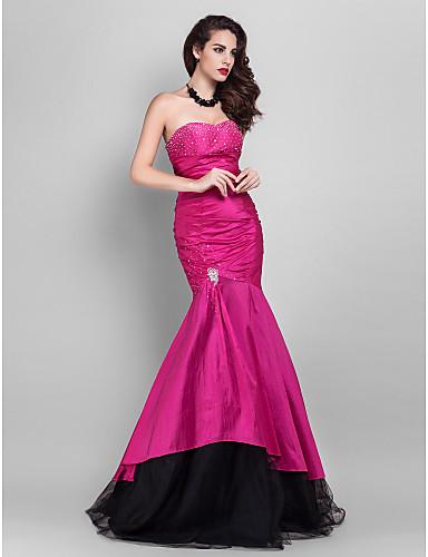 Τρομπέτα / Γοργόνα Στράπλες Μακρύ Ταφτάς / Τούλι Ανοικτή Πλάτη / Στυλ Διασήμων Επίσημο Βραδινό Φόρεμα με Χάντρες με TS Couture®