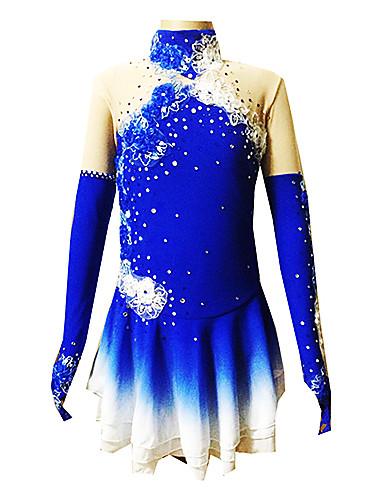 Eiskunstlaufkleid Damen / Mädchen Eislaufen Kleider Blau Elasthan Strass / Applikationen Leistung Eiskunstlaufkleidung Handgemacht Blumen