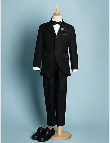 Slonová kost Černá Polyester Oblek pro mládence - 5 Obsahuje Sako Kalhoty pas Košile Motýlek
