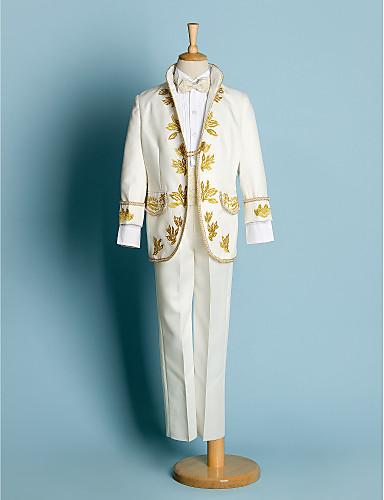 povoljno Odijela za malog djevera-Slonovača / Crn Poliester Odijelo za malog djevera - 4 Uključuje Sako / Shirt / Hlače