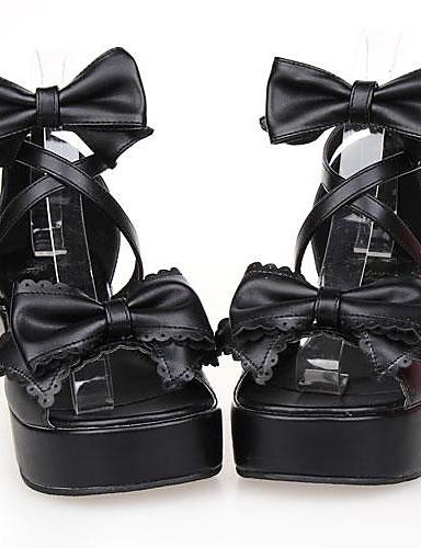abordables Cosplay & Disfraces-Vestidos Zapatos Lolita Clásica y Tradicional Classic Lolita Plataforma Zapatos Lazo 6 cm CM Para Mujer Cuero Sintético / Cuero de Poliuretano Disfraces de Halloween / Princesa
