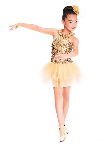 Tanzkleidung für Kinder Kleider Training Elasthan Tüll Pailletten Paillette Rüschen Ärmellos Normal