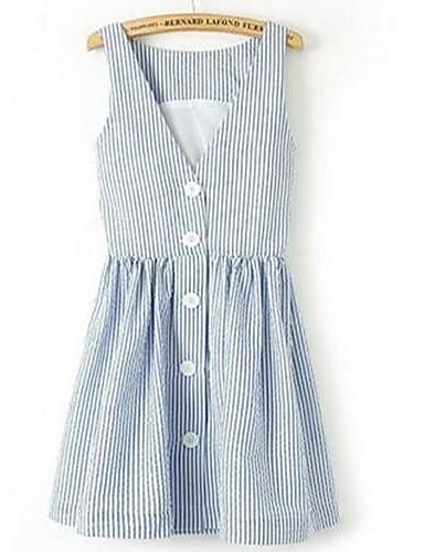 Kılıf Elbise Çizgili,Kolsuz Mini Diz üstü Polyester Yaz Esnemez İnce