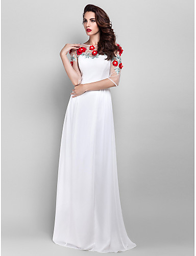 Sheath / Column Illusion Neckline Floor Length Chiffon Prom Dress with Beading Appliques Pearl Detailing Flower by TS Couture®