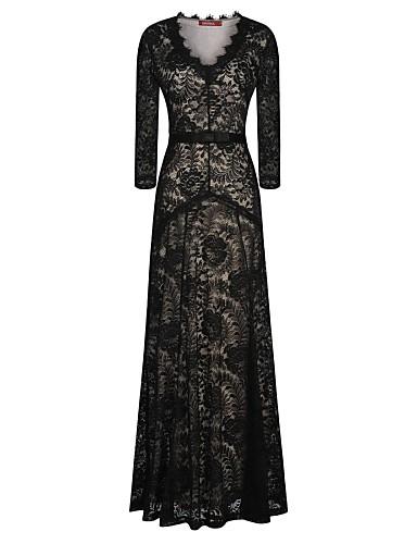 Women's Lace Black Dress, Party/Sexy/Maxi Deep V Long Sleeve