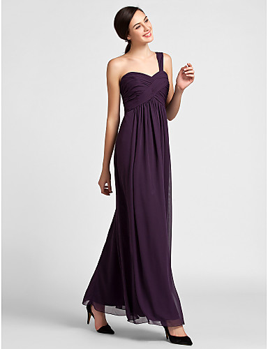 Sheath / Column One Shoulder Floor Length Chiffon Bridesmaid Dress with Draping Criss Cross by LAN TING BRIDE®