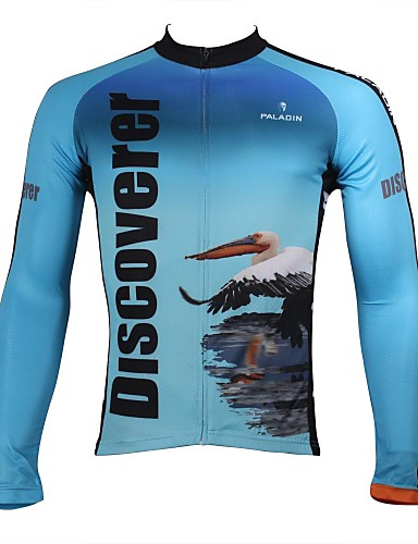 0507098e3 ILPALADINO Men s Long Sleeve Cycling Jersey - White+Sky Blue Animal Bike  Jersey Top Breathable Quick Dry Ultraviolet Resistant Sports 100% Polyester  ...
