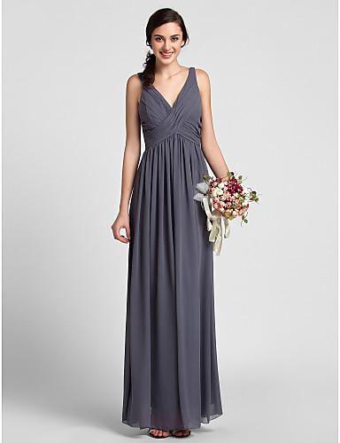 Ίσια Γραμμή Λαιμόκοψη V Μακρύ Σιφόν Φόρεμα Παρανύμφων με Που καλύπτει Χιαστί με LAN TING BRIDE®