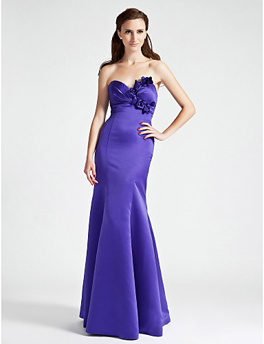 Mermaid / Trumpet Strapless Sweetheart Floor Length Satin Bridesmaid Dress with Flower Side Draping by LAN TING BRIDE®