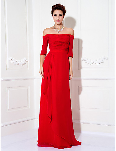 b8c4227a1b960 Sheath / Column Off Shoulder Floor Length Chiffon Cocktail Party / Prom /  Formal Evening Dress with Side Draping / Ruched by TS Couture® #01483942