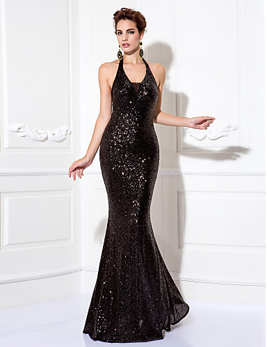 6dbb20a3fca3 Sheath / Column Halter Neck Floor Length Sequined Sparkle & Shine Cocktail  Party / Prom / Formal Evening Dress with Sequin / Pleats by TS Couture®