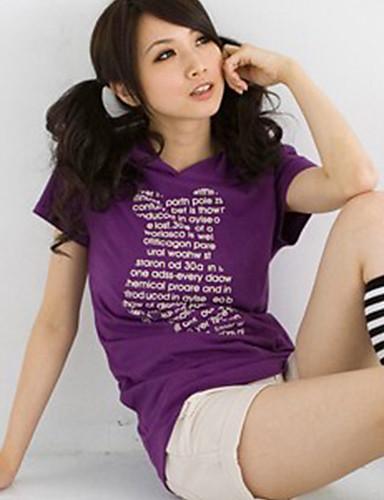 буквы печатные мода модель с капюшоном футболка фиолетовый