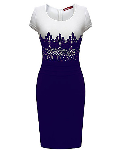 8266030feec5 Women s Work Sophisticated Slim Sheath Dress - Color Block Blue   White  Spring Purple Screen Color