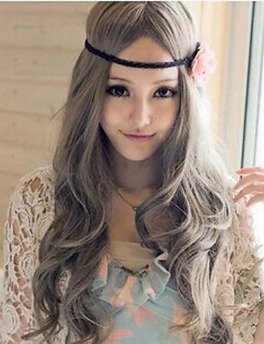 abordables Cosplay & Disfraces-Princesa Pelucas de Cosplay Mujer 32 pulgada Fibra resistente al calor Gris Animé