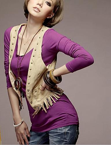 moda v-gât bluza cu maneca lunga violet