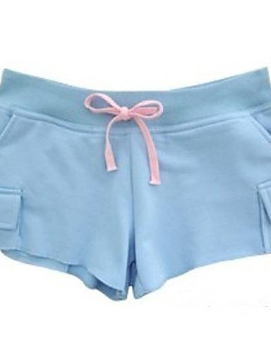 Damen Schick & Modern Baumwolle Kurze Hosen Hose - Solide Moderner Stil Blau
