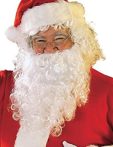 voordelige Kerst Kostuums-Kerstmanpakken Kerstfeest Artikelen Heren Dames Volwassenen Halloween Festival / Feestdagen Outfits Wit + rood Effen