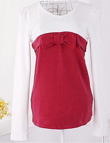 bloc de culoare stil Bowknot dulce mânecă lungă T-shirt roșu