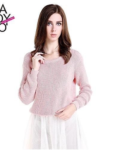 Disinteressato Per Donna Tinta Unita Manica Lunga Standard Pullover Primavera - Autunno - Inverno Rosa #02242033 Facile Da Usare