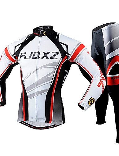 cheap Cycling Clothing-FJQXZ Men's Long Sleeve Cycling Jersey with Tights - White Bike Clothing Suit Breathable 3D Pad Quick Dry Ultraviolet Resistant Back Pocket Winter Sports Polyester Mesh Curve Mountain Bike MTB Road