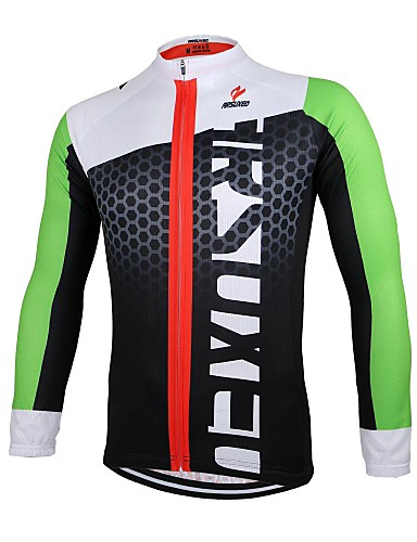 cheap Cycling Clothing-Arsuxeo Men's Long Sleeve Cycling Jersey - Black / Green White+Red Bule / Black Bike Jersey Top Breathable Quick Dry Anatomic Design Sports 100% Polyester Mountain Bike MTB Road Bike Cycling Clothing
