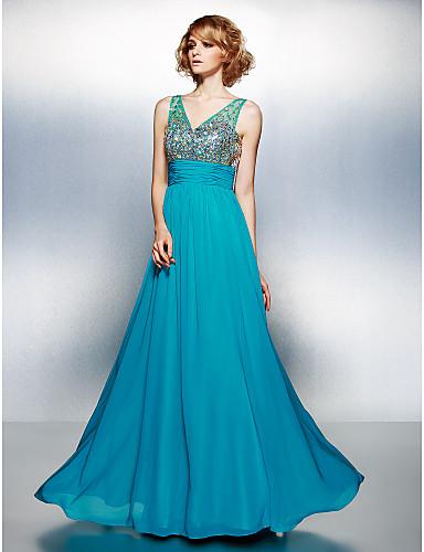 A-Şekilli V Yaka Yere Kadar Şifon Boncuklama / Payet / Kristal Detaylar ile Balo Elbise tarafından TS Couture®