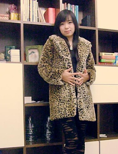 kürk ceket moda uzun kollu devrik taklit kürk parti / casual ceket