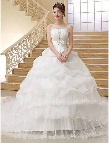 Ball Gown Strapless Cathedral Train Organza Made-To-Measure Wedding Dresses with Bowknot / Pick Up Skirt by / Sparkle & Shine