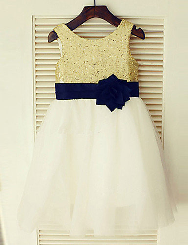 A-Line Knee Length Flower Girl Dress - Chiffon Sleeveless Jewel Neck with Bow(s) Lace Sash / Ribbon Pleats by LAN TING BRIDE®