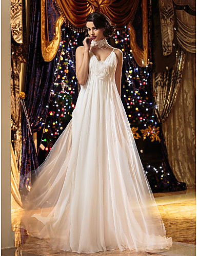 Prinsesse V-hals Svøpeslep Chiffon Made-To-Measure Brudekjoler med Perlearbeid / Drapering / Blomst av LAN TING BRIDE® / Vakker rygg