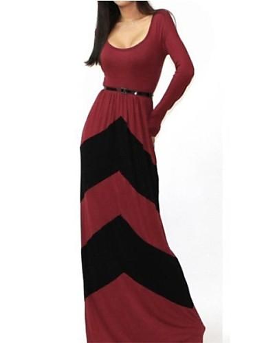 Damen Street Schick Hülle Kleid - Patchwork, Einfarbig
