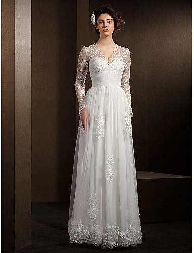 A-Line V-neck Floor Length Lace Tulle Wedding Dress with Beading Lace Sash / Ribbon by LAN TING BRIDE®