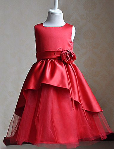 A-Line Knee Length Flower Girl Dress - Lace Tulle Sleeveless Scoop Neck with Flower