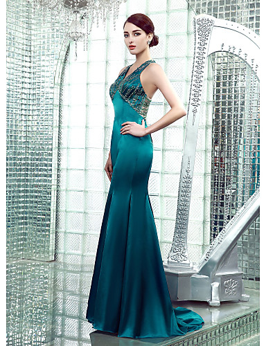Mermaid / Trumpet V Neck Floor Length Stretch Satin Beautiful Back Formal Evening Dress with Beading by
