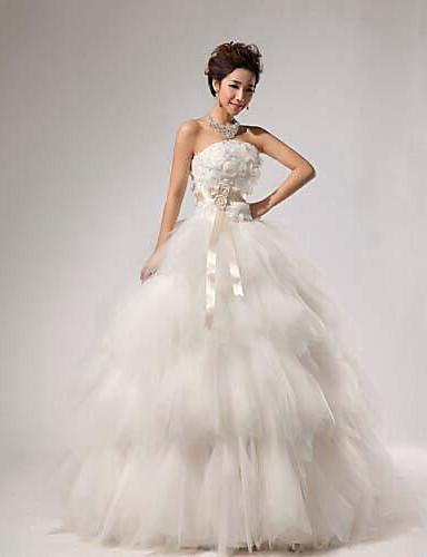 Бальное платье без бретелек длиной до пола кружево свадебное платье с стеной / лентой многоуровневый цветок