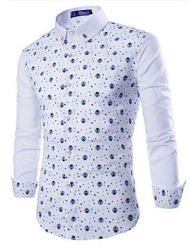 Print-Informeel-Heren-Katoenmix-Overhemd-Lange mouw-Rood / Wit