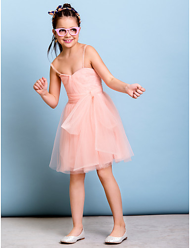 A-Line Spaghetti Straps Knee Length Tulle Junior Bridesmaid Dress with Bow(s) Sash / Ribbon Criss Cross Side Draping by LAN TING BRIDE®