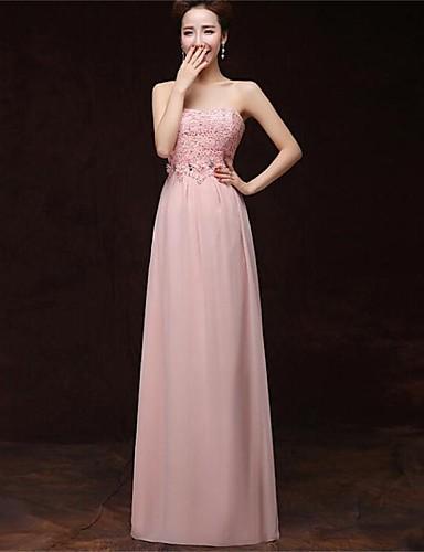 Вечернее платье с карманами без бретелек длиной до пола