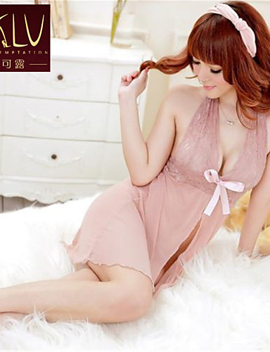 Women's Lace Lingerie Robes Ultra Sexy Nightwear Solid Organza Pink